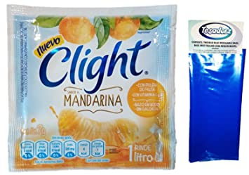 Clight (Mandarina) Powdered Drink Mix 1 Liter (Pack of 18) with Tesadorz