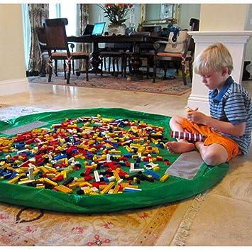 alfombrilla plegable de limpieza para el hogar al aire libre bolsa de almacenamiento de juguetes y alfombrilla de juego 2 en 1 organizador de juguetes port/átil tama/ño grande 150 cm con cord/ón