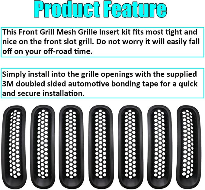 Sunroadway/Ã/ƒ/Â/'/Ã/'/Â/® Black Front Grill Mesh Grille Insert Kit For Jeep Wrangler Rubicon Sahara Jk 2007-2015 7PC by Sunluway