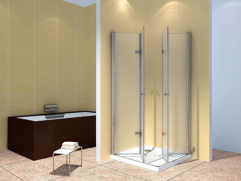Satinado Puerta mampara de Cristal de Seguridad (ESG) sin Plato - #99 (110 x 75 cm sin Plato de Ducha): Amazon.es: Hogar