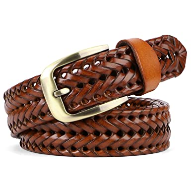 9f44c785 JasGood Men's Fashion Vintage Perforated Casual Braid-Weave Belt With  Classic Buckle (Belt Length