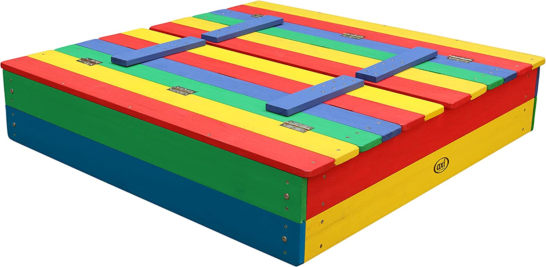 Sand Kasten mit Sitzbank & Abdeckung für Kinder in bunten Farben ...