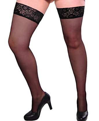5d5827b49d8f2 Gabriella Plus Size Lace Top Sheer Hold Up Stockings Black One Size Queen:  Amazon.co.uk: Clothing