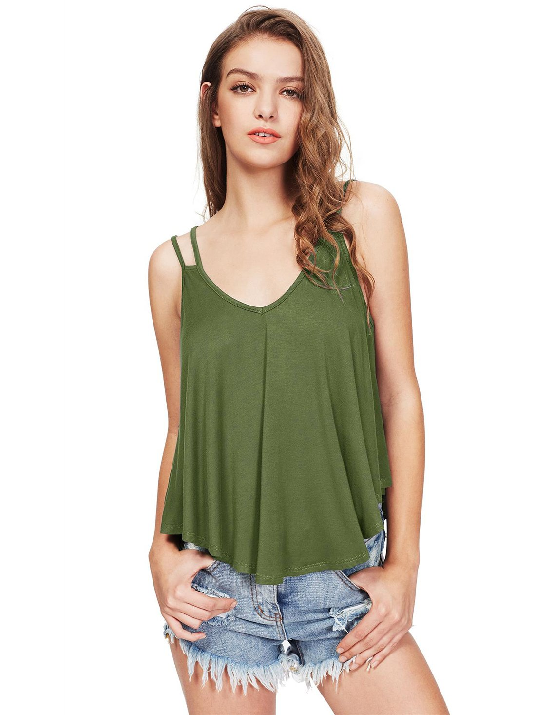 MakeMeChic Women's Flowy V Neck Strappy Loose Tank Tops Cami Blouse Green S
