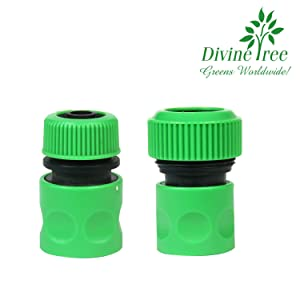 Divine Tree Hose Quick Connector Garden Hose Pipe Nozzle Tap Adapter for Quick Hose Pipe Fitting Pack of 2