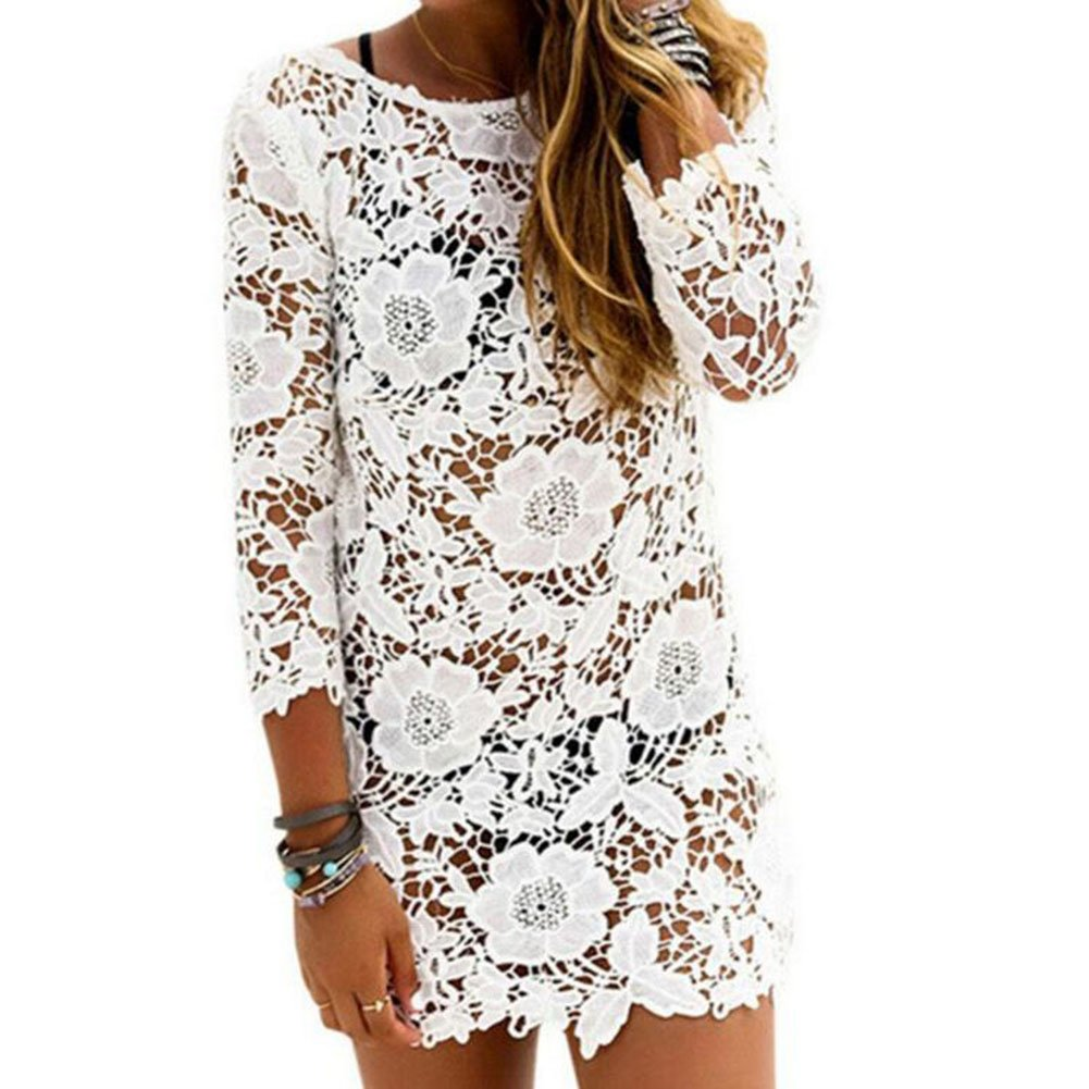 ... Cordón Blusa V-cuello Borla Kimono Blanco Protector solar Camisa Kaftan Sayo Verano Fiesta Baños Traje Bikini Cover up: Amazon.es: Ropa y accesorios