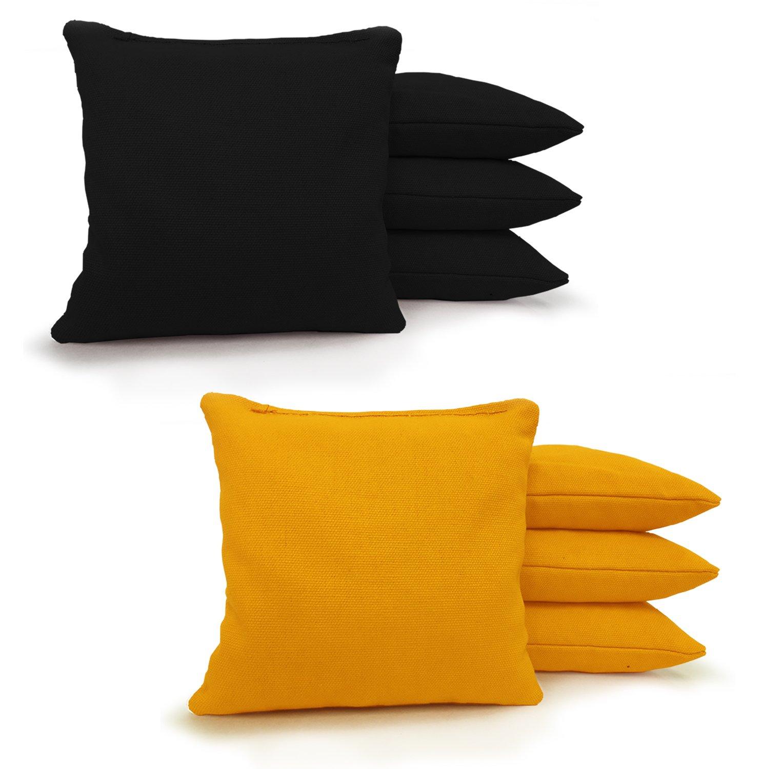 8 Standard Corn Filled Regulation Duck Cloth Cornhole Bags! (Black/Yellow)