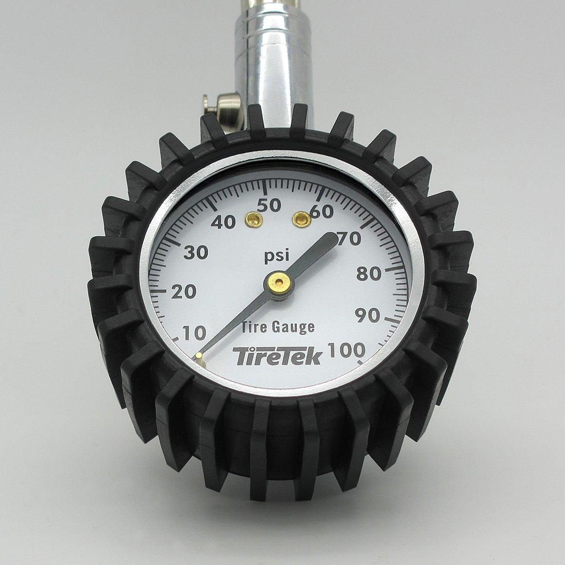 Heavy Duty Best for Car /& Motorcycle 0-100 PSI TT-GH01-QBR2-100 TireTek Flexi-Pro Tire Pressure Gauge