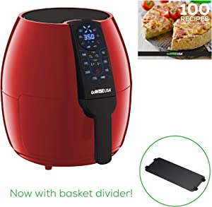 GoWISE USA 5-Quart Air Fryer with 8 Cook Presets + Recipe Book, Red, 5.0-Qt