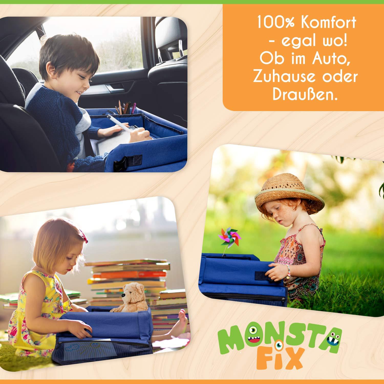 Inklusive Papier und Buntstiften Blau 100/% Komfort Doppelseitiges Knietablett Monstafix/® Kinder Reisetisch Auto Einstellbares Reisetablett