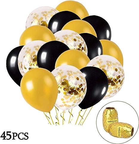 MMTX Globos Oro Negro 45 Piezas Globos Oro con Globo de Confeti Dorado para Mujeres Hombres Cumplea/ños Decoraci/ón Graduaci/ón Fiesta de Halloween