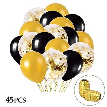 MMTX Globos Oro Negro, 45 Piezas Globos Oro con Globo de Confeti Dorado para Mujeres Hombres Cumpleaños Decoración Graduación Fiesta de Halloween