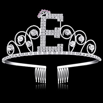 Amazon.com: Babeyond vidrio Cumpleaños Tiara alfabeto carta ...
