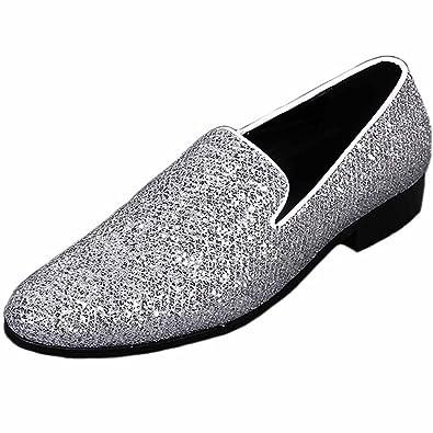 7a7b9676bc603 Amazon.com | Santimon Mens Dress Shoes Fashion Silver Sequined Slip ...