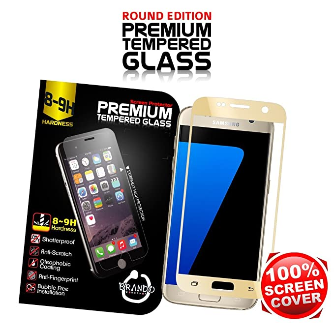 Brando Workshop Full Screen Coverage Glass Protector For Samsung Galaxy S7 Gold Color