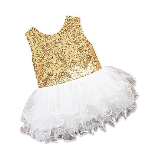 e1340b7b9f076 Amazon.com: Toddler Sequin Dress Baby Girls Princess Party Wedding ...