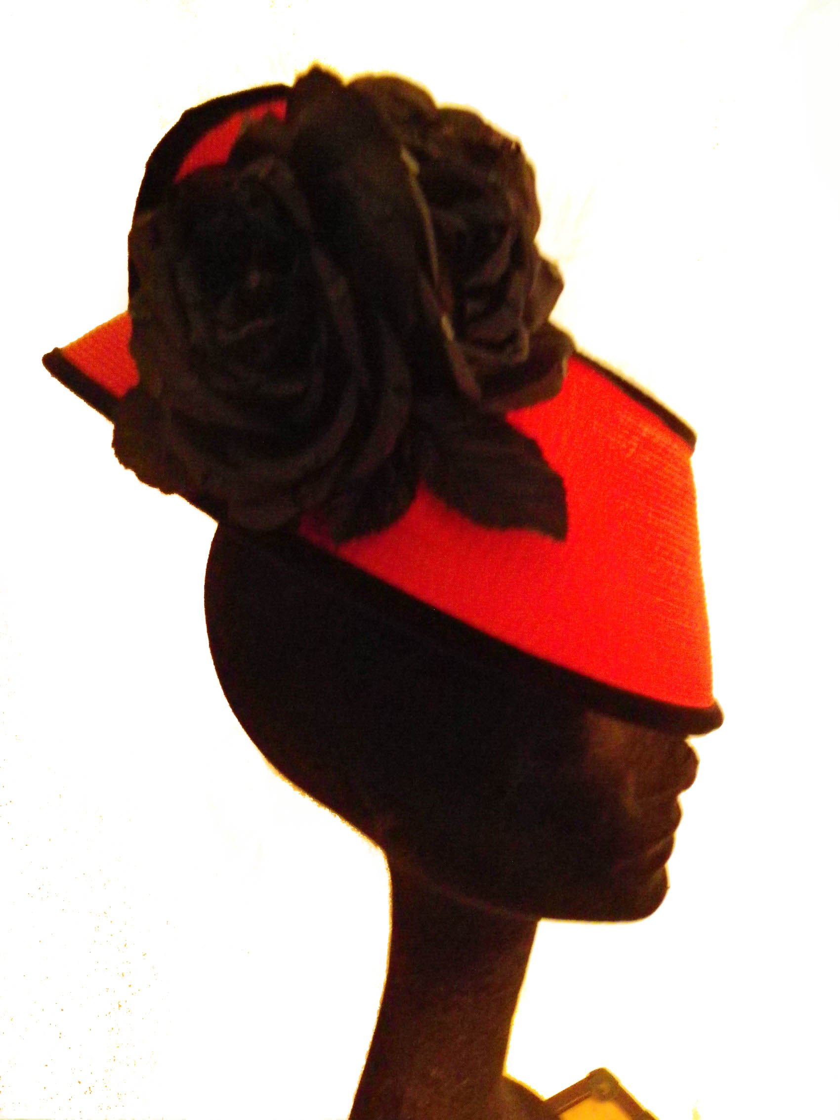 Red Straw Fascinator With Black Velvet And Flowers