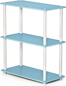 FURINNO 10024LBL/WH Turn-N-Tube 3-Tier Compact Multipurpose Shelf, Single, Light Blue/White