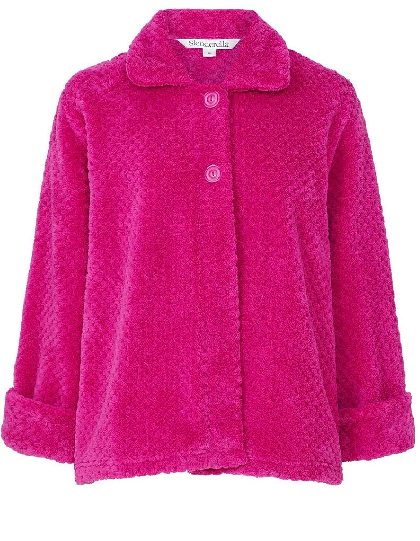 "Slenderella Pink 24"" Long Sleeve Waffle Fleece Bed Jacket BJ6325"