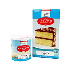 Miss Jones Baking Organic Cake and Cupcake Mix Bundled with Organic Buttercream Frosting, Perfect for Icing and Decorating, Vegan-Friendly… (Vanilla)