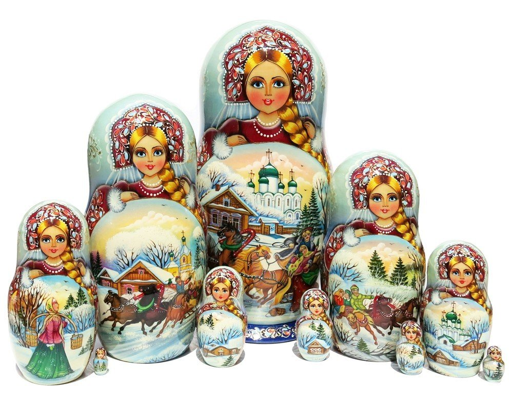 Admirer 10 Piece Exclusive Nesting Doll Authentic Russian Babushka Doll Signed By Artist. Original Work Of Art Comes With Certificate Of Authenticity
