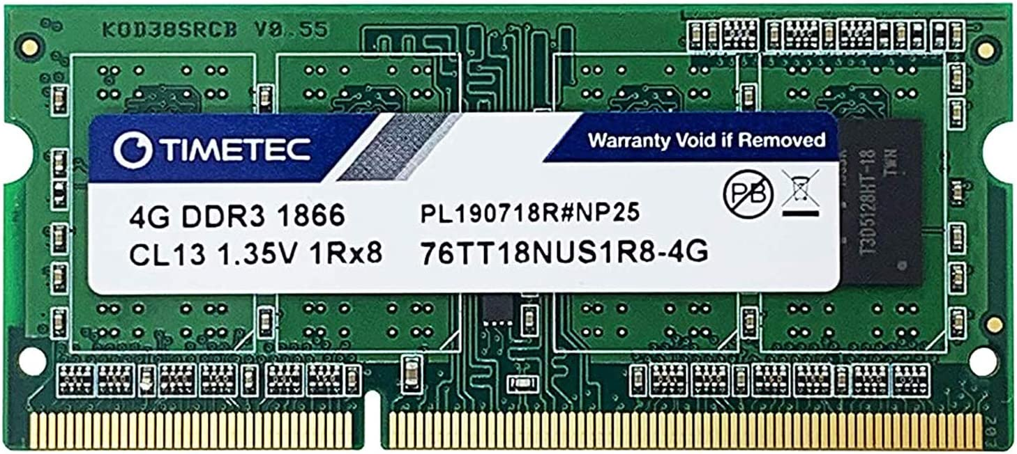 Timetec Hynix IC 4GB for Synology NAS DiskStation DS218+ DS718+ DS918+ DS418play DDR3/ DDR3L 1866Mhz PC3L-14900 1.35V Non-ECC Unbuffered 204 Pin SODIMM Memory RAM(Equivalent to Synology D3NS1866L-4G)