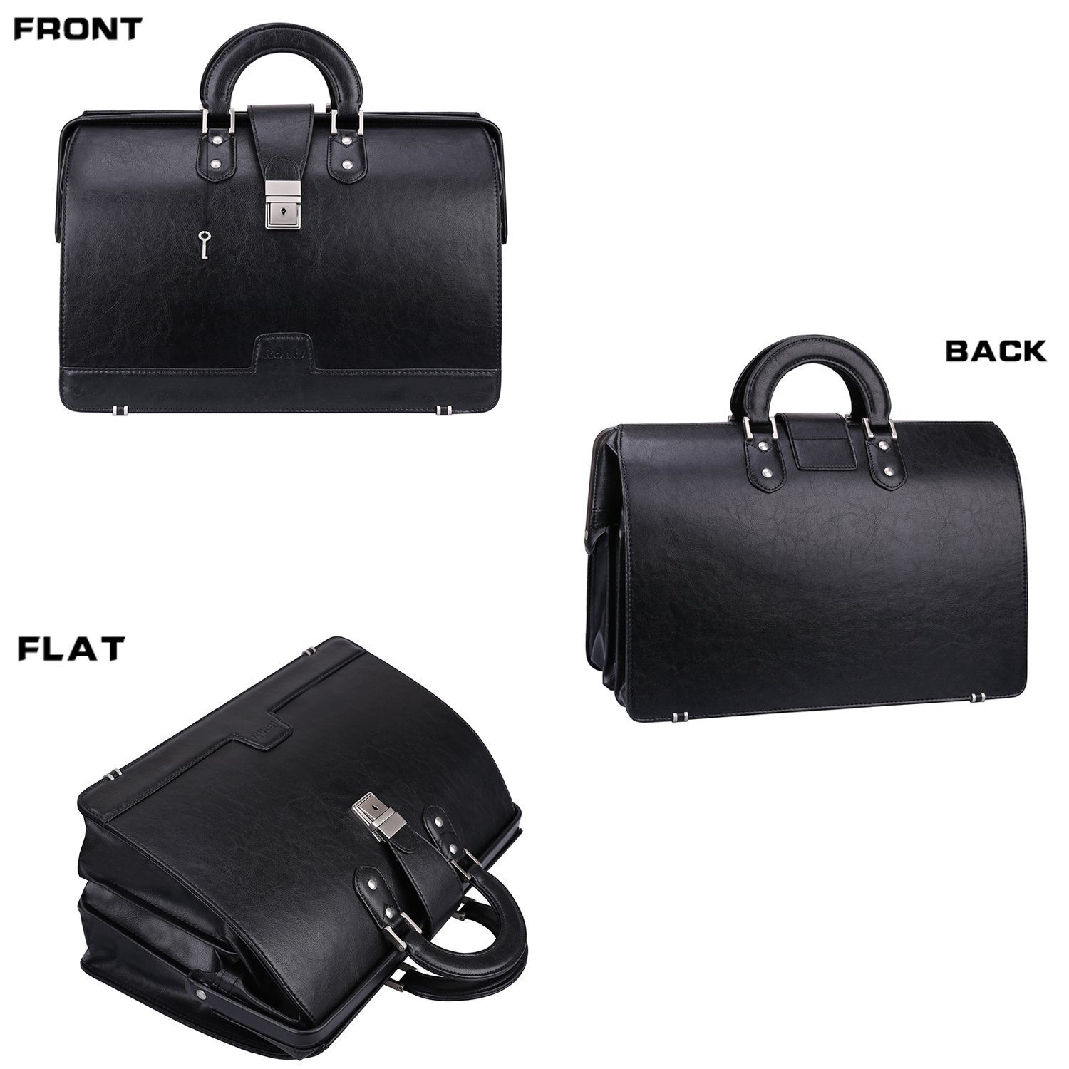 Ronts Mens PU Leather Briefcase Lawyer Attache Case with Lock 15.6 Inch Laptop Business Bag, Black by Ronts (Image #3)