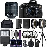 Canon EOS Rebel T6I 750D Digital SLR Camera + 18-55mm IS STM Lens + 2 X 32GB + 58mm Telephoto + Wide-Angle Lens + Filters + Flash + Tripod - International Version (No Warranty) (18-55mm IS STM)
