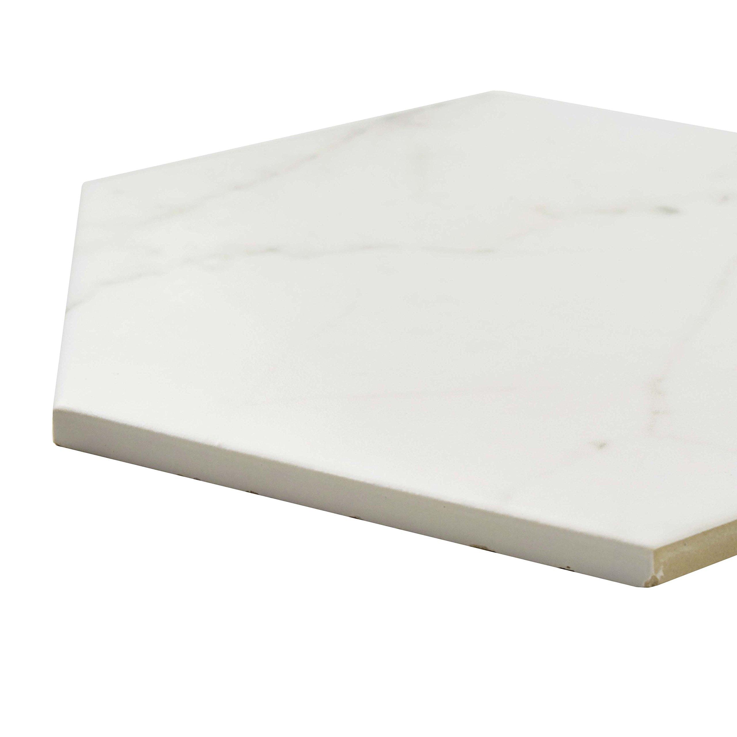 SomerTile FEQCRX Murmur Carrara Hexagon Porcelain Floor & Wall Tile, 7'' x 8'' (Pack of 25) by SOMERTILE (Image #6)