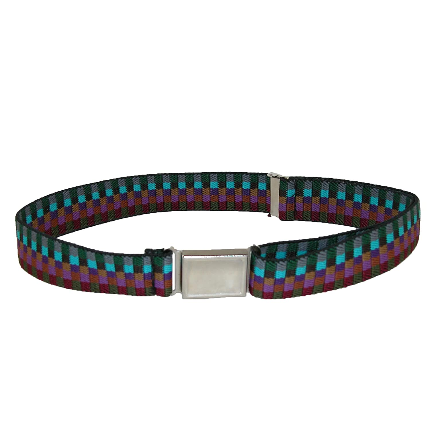 Kids' Elastic Multi Tone Adjustable Belt with Magnetic Buckle, Earth Tones CTM JK-319MUL-MUL