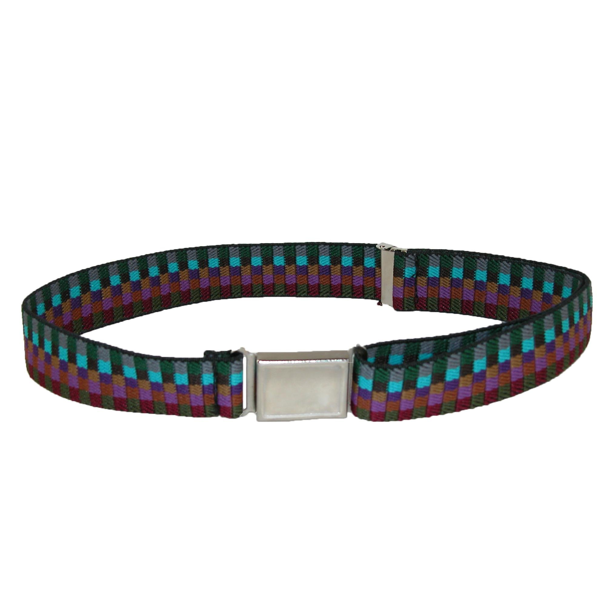 CTM Kids' Elastic Multi Tone Adjustable Belt with Magnetic Buckle, Earth Tones