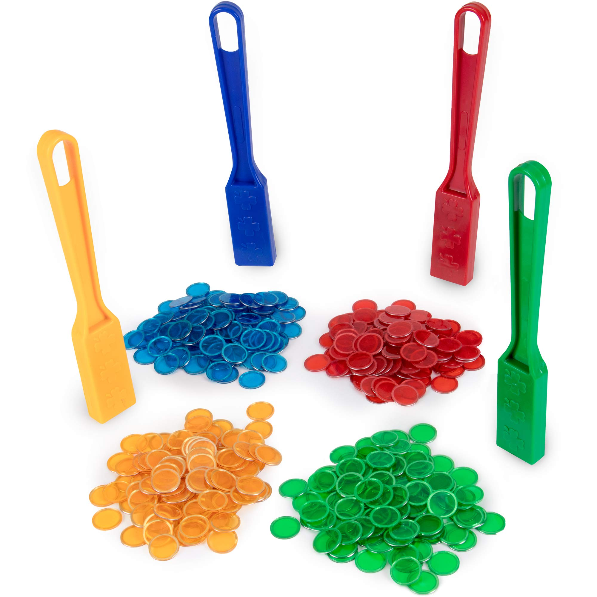 Magnetic Bingo Wand 4-Pack & 400 Colorful Metal-Ring Bingo Chips | Educational STEM Resource | Kids Classroom Learning Toys | Science Play to Teach Counting, Pointing, and Sharing