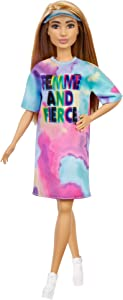 Barbie Fashionistas Doll # 159, Petite, with Light Brown Hair Wearing Tie-Dye T-Shirt Dress, White Shoes & Visor, Toy for Kids 3 to 8 Years Old