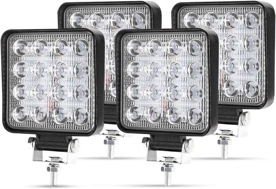Kraumi Faro Trabajo LED Focos de Coche 12V Square Faros Led Tractor IP67 Impermeable Off-road Foco de Trabajo LED para Moto ATV SUV Tractor Camión Barco (48W Square, 4 piezas)
