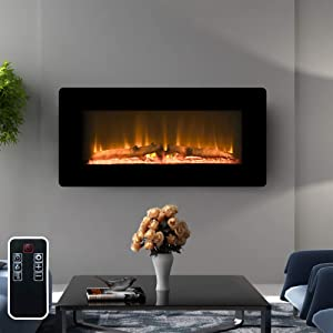 """LOKATSE HOME 36"""" 1400W Wall Mounted Electric Fireplace Stove Heater with Realistic Logs Flame Brightness Timer Thermostat Adjustable Manual&Remote Control (36 inch 3-Level)"""
