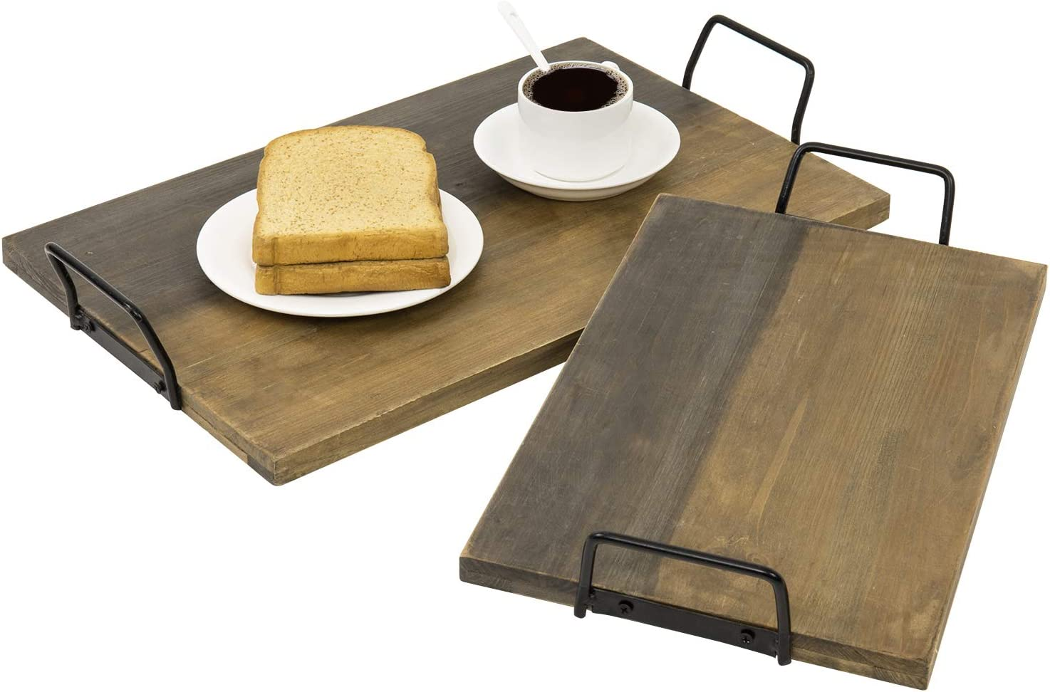 MyGift Aged Wood Plank Style Serving Trays with Black Metal Handles, Set of 2