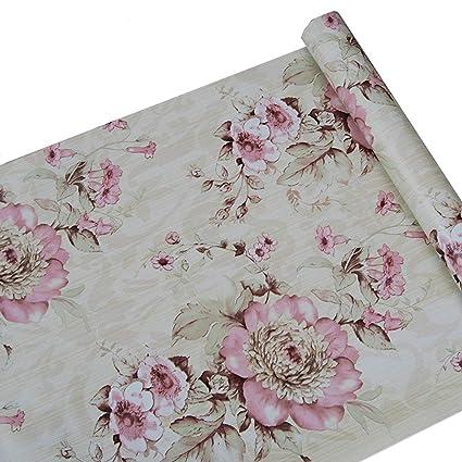Rosa Floral Caj/ón Estante maletero decorativos autoadhesivos vinilo de papel de contacto Cubierta para estantes caj/ón muebles decoraci/ón de pared 45 x 200 cm