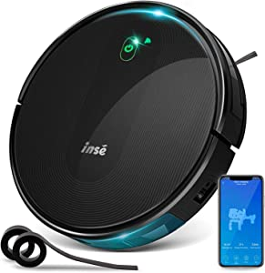 INSE Robot Vacuum Cleaner with Self Charging and 1800Pa Powerful Suction, Compatible with Alexa Google Home and WiFi Connected, 2 of Boundary Strips for Pet Hair and Hard Floor Low/Med Pile Carpet E5