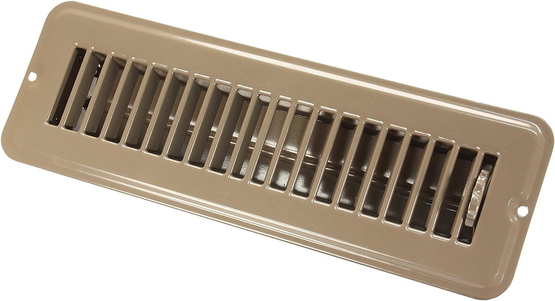 """JR Products 02-28915 Dampered Floor Register - 2"""" x 10"""", Brown"""