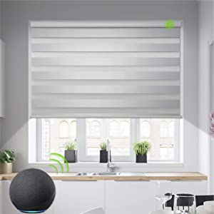 Yoolax Motorized Zebra Blinds Works with Alexa, Light Filtering Day and Night Dual Layer Sheer Blinds Customized Size, Privacy Light Control Horizontal Window Blind for Home Office (90% Shading White)