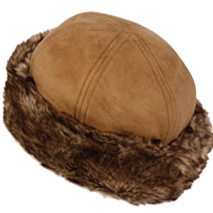 CL2192 Faux Leather With Faux Fur Trimmed Winter Fashion Hat (A KAHKI) 3d11ead5397c