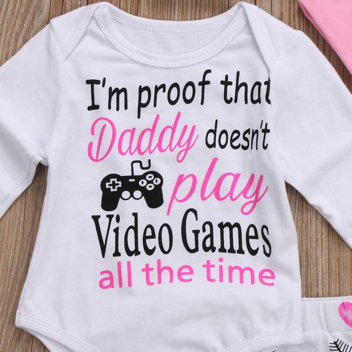 Seyurigaoka 4Pcs Baby Girls Pants Set Newborn Letter Romper Infant Toddler Arrow Heart Pants Hats Headband Outfits