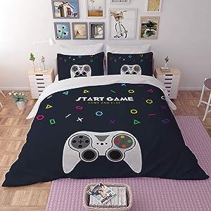 FAITOVE Gamer 3 Piece Bedding Set 200cm x 230cm Duvet Cover Set with 2 Pillow Case 100% Microfiber, Full Size
