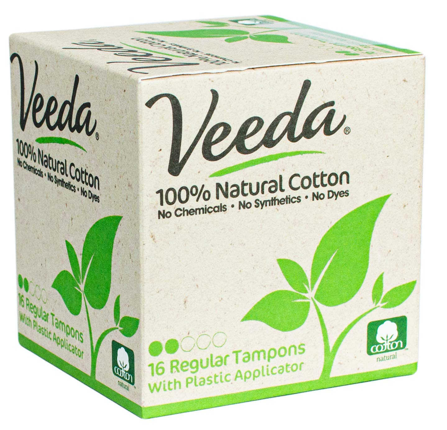 Veeda 100% Natural Cotton Compact BPA-Free Applicator Tampons Chlorine, Toxin and Pesticide Free, Regular, 16 Count