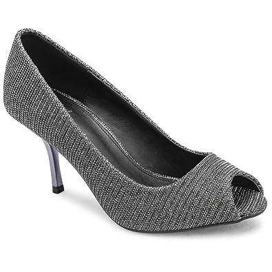 b9acf440c tresmode Women's Black Glittery Peep-Toe Sandals: Buy Online at Low ...