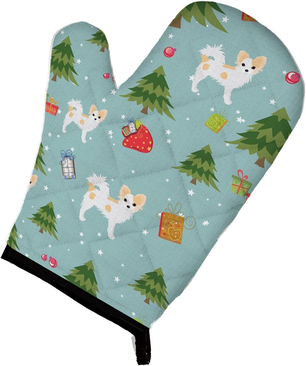 Caroline's Treasures BB4927OVMT Christmas Longhair Pied Chihuahua Oven Mitt, Large, multicolor