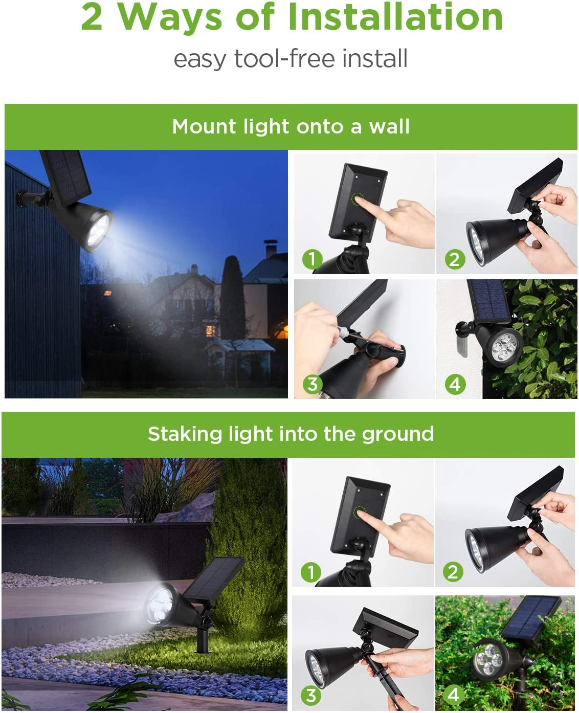 InnoGear Solar Lights Outdoor, Upgraded Waterproof Solar Powered Landscape Spotlights 2-in-1 Wall Light Decorative Lighting Auto On/Off for Pathway Garden Patio Yard Driveway Pool, Pack of 4 (White) - -