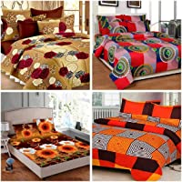 RS Home Furnishing Combo of 100% Cotton Floral Printed King Size Double 4 Bedsheet with 8 Pillow Covers Multi Colour