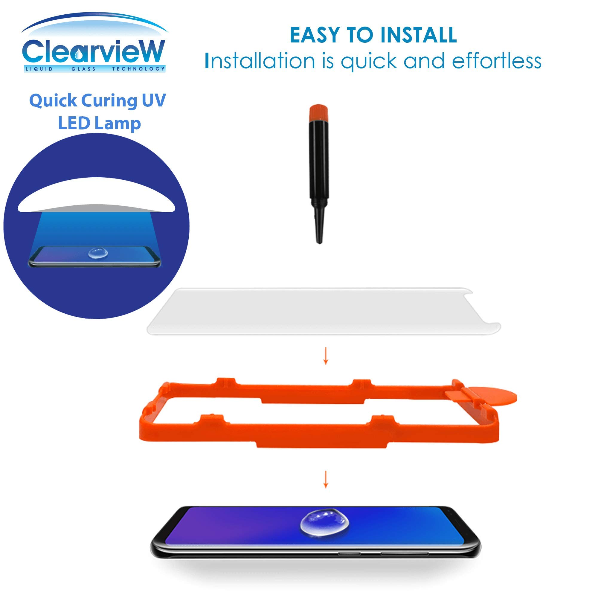 Clearview Samsung Galaxy S8 Liquid Tempered Glass Screen Protector - 9H Ultra Clear HD Japanese Glass, Full Screen Edge Coverage, Easy Install, Loca UV Light, Case Friendly (Full Kit) by Clearview (Image #5)