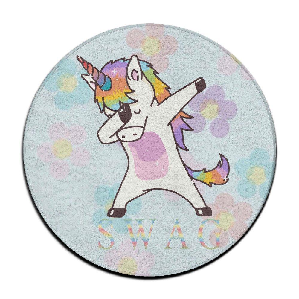Tapis rond antidérapant - Motif de licorne swag qui fait le dab - Pour salle à manger, chambre - 60cm Cute ksisc-ds50ws-a